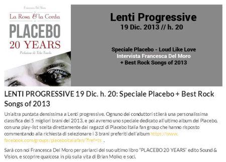 'LENTI PROGRESSIVE 19 Dic_ h_ 20_ Speciale Placebo + Best Rock Songs of 2013 - UniRadio Cesena' - www_uniradiocesena_it_lenti-progressive-19-dic-h-20-speciale-placebo-best-rock-songs-of-2013